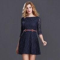 CFYH 2017 European Design Spring Summer Women Floral Lace Dresses Plus Size 2XL Hollow Lace Women