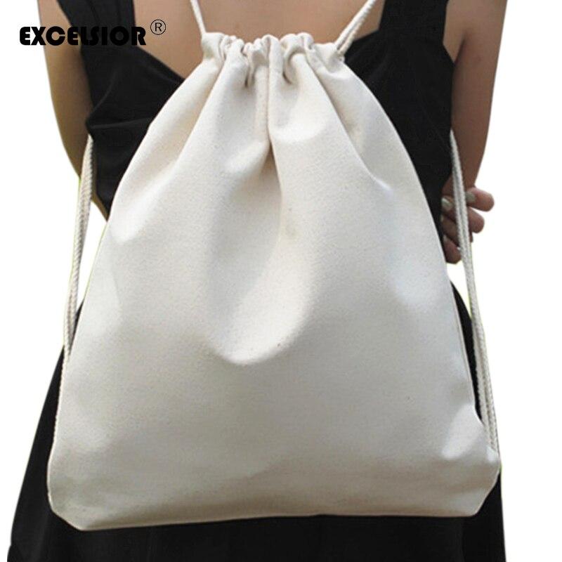 EXCELSIOR Frische Weiße Weibliche Rucksack Baumwolle Leinen Frauen Kordelzug Sack Pack Umhängetaschen Damen Casual Strand Schuhe Taschen