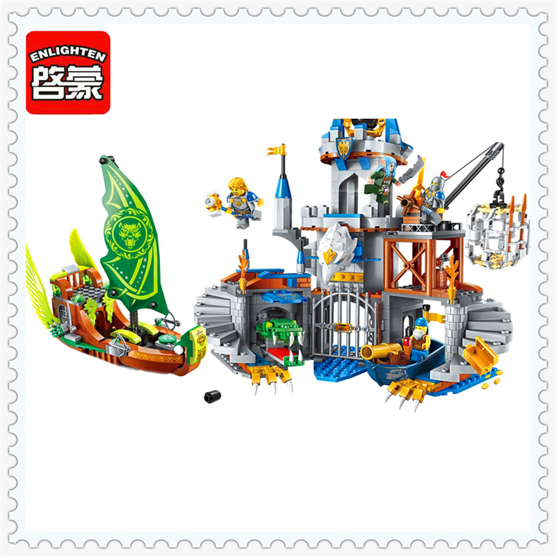 ENLIGHTEN 2315 War of Glory Castle Knights Hawk Building Block Compatible Legoe 656Pcs DIY Educational  Toys For Children enlighten 2314 war of glory castle knights shop model building block 368pcs educational toys for children compatible legoe