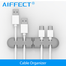 AIFFECT Eco Material Cable Management with Sticky Adhesive Silicone Desktop Wire Organizer Winder