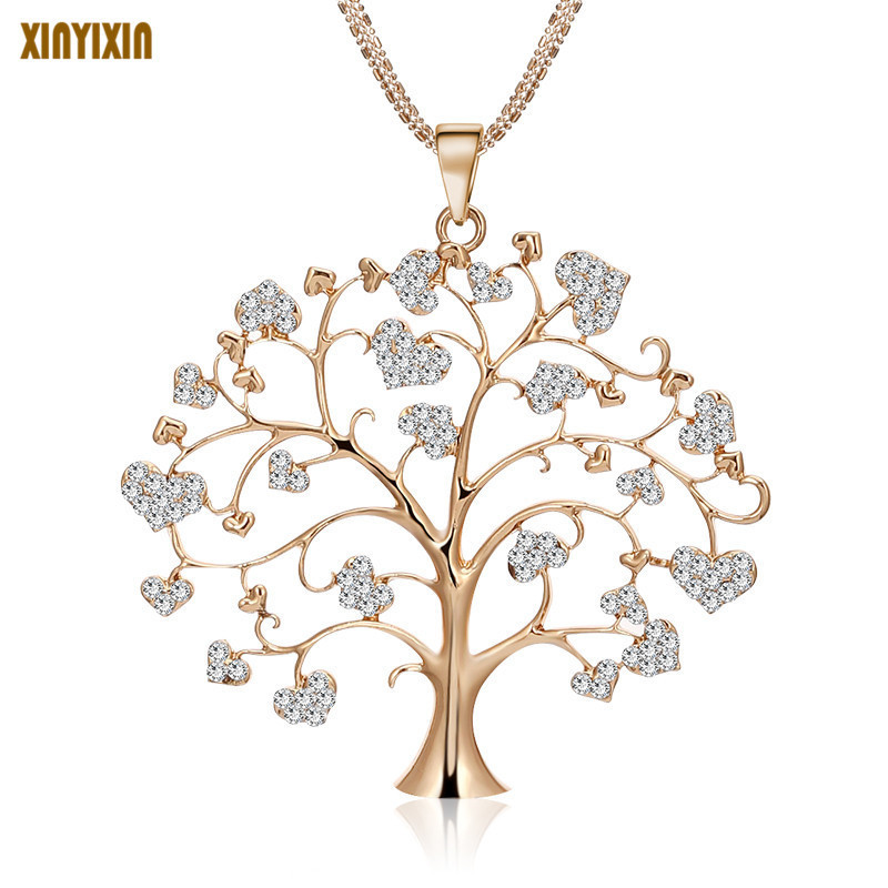 Hot Tree of Life CZ Crystal Heart Lover Long Necklace & Pendant Gold Silver Women Sweater Necklace For Her Gift Wholesale Price ...