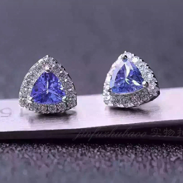 100 925 Sterling Silver Triangle Genuine Natural Tanzanite Earring Women Best Gift Sepcial Pave Setting