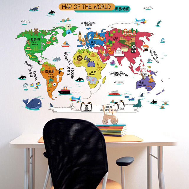 Fundecor cartoon world map wall sticers for kids rooms children fundecor cartoon world map wall sticers for kids rooms children decals diy home room gumiabroncs Choice Image