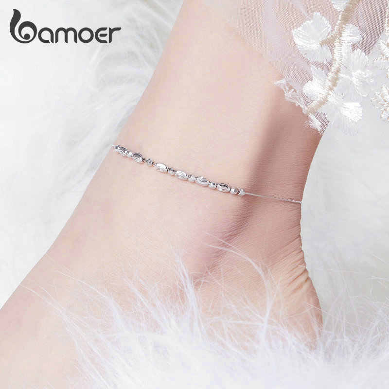 bamoer 925 Sterling Silver Slide Beads Silver Anklet for Women Charm Bracelet  of Leg Ankle Foot Accessories Fashion SCT010
