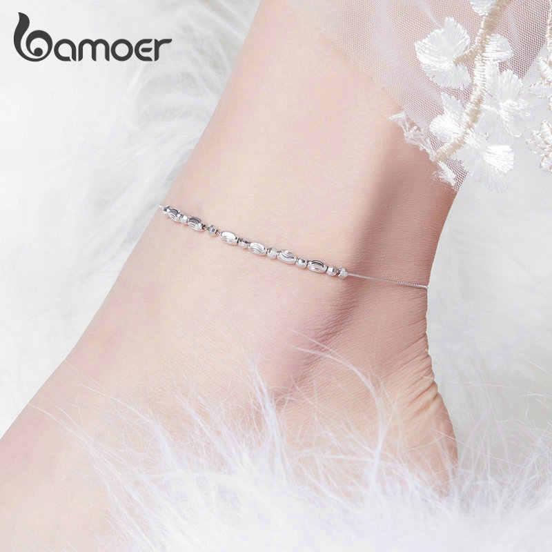 Bamoer 925 เงินสเตอร์ลิงสไลด์ลูกปัดเงินผู้หญิงสร้อยข้อมือ Charm ผู้หญิงขาข้อเท้าเท้าอุปกรณ์เสริมแฟชั่น SCT010