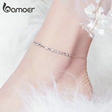 bamoer 925 Sterling Silver Slide Beads Silver Anklet for Women Charm Bracelet of Leg Ankle Foot Accessories Fashion SCT010(China)