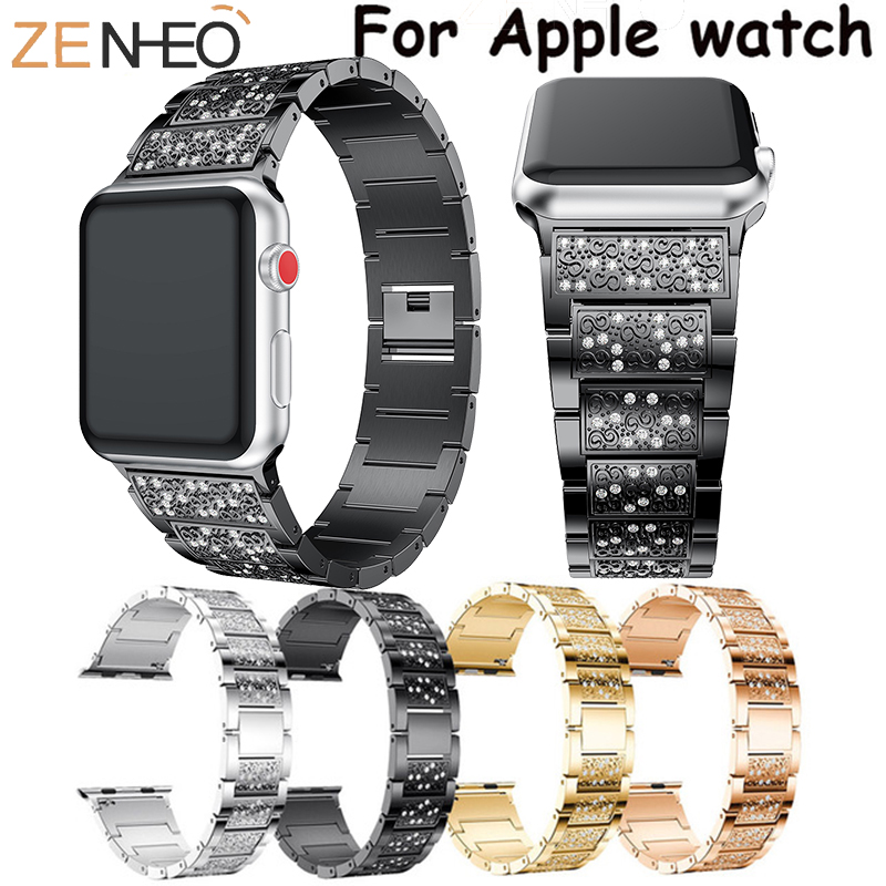 For Apple Watch series 4/3/2/1 bands bracelet 40mm 38mm 42mm 44mm women Strap Stainless steel link watchband with RhinestoneFor Apple Watch series 4/3/2/1 bands bracelet 40mm 38mm 42mm 44mm women Strap Stainless steel link watchband with Rhinestone