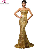 2017 Grace Karin Luxury Mermaid Evening Dresses Long Gold Sequin Backless Evening Gowns Sweetheart Beaded Formal Prom Dress
