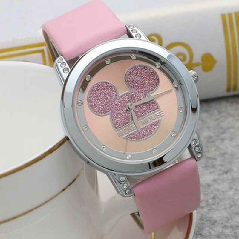 Mickey Mouse Minni Steel Quartz Watch Cartoon Children Watches Crystal Diamond Ladies Student  Women Anime Clock Girls Golden