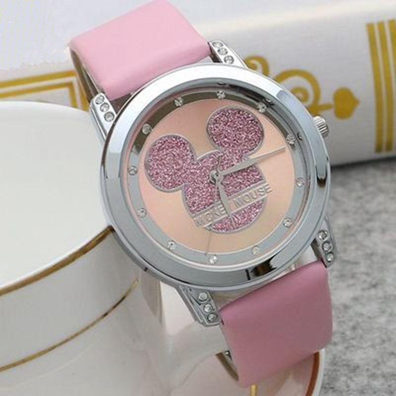 Mickey Mouse Minni Steel Quartz Watch Cartoon Children Watches Crystal Diamond Ladies Student  Women Anime Clock Girls Golden