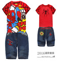Retail 2016 New Children summer clothing set Boys Spiderman sport suit kids casual set short sleeve T-shirt and jeans, MS0088