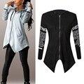 Mulheres HoodiesLletter longo-Casaco de mangas compridas com capuz Harajuku Plus Size Esporteswear Y02