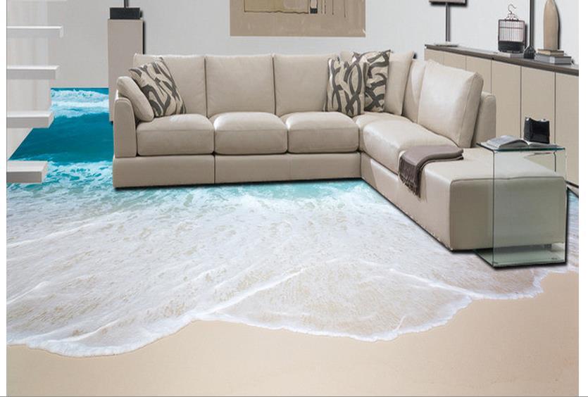 Online-Shop 3d bodenbelag pvc-boden tapete 3D meer strand - 3d badezimmerboden
