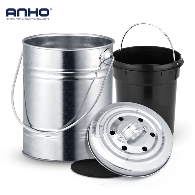 Anho Stainless Steel Trash Can Deodorant Mini Bucket With Lid Compost Bin Counter Top Waste Kitchen Garbage Storage In Bins From Home