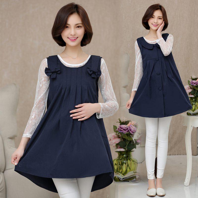 Korean fashion radiation maternity dress strap skirt bow radiation large size dress 2018 new cartoon radiation maternity dress four seasons korean fashion letter print dress