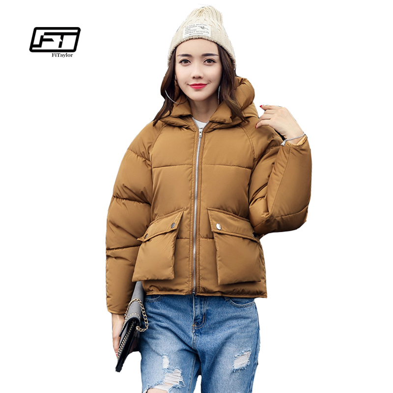 Fitaylor Winter Women Padded Coats Short Cute Cotton Down   Parkas   Camouflage Wadded Jacket Loose Casual Warm Overcoats