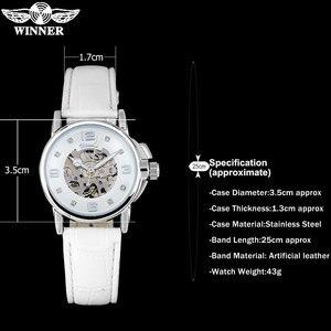 Image 4 - WINNER brand women watches skeleton mechanical watch white leather band ladies simple fashion casual clock relogio femininos