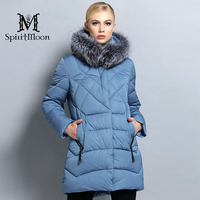SpiritMoon 2017 New Winter Warm Female Thick Parka Hooded Coat Women Down Jacket With Silver Fox