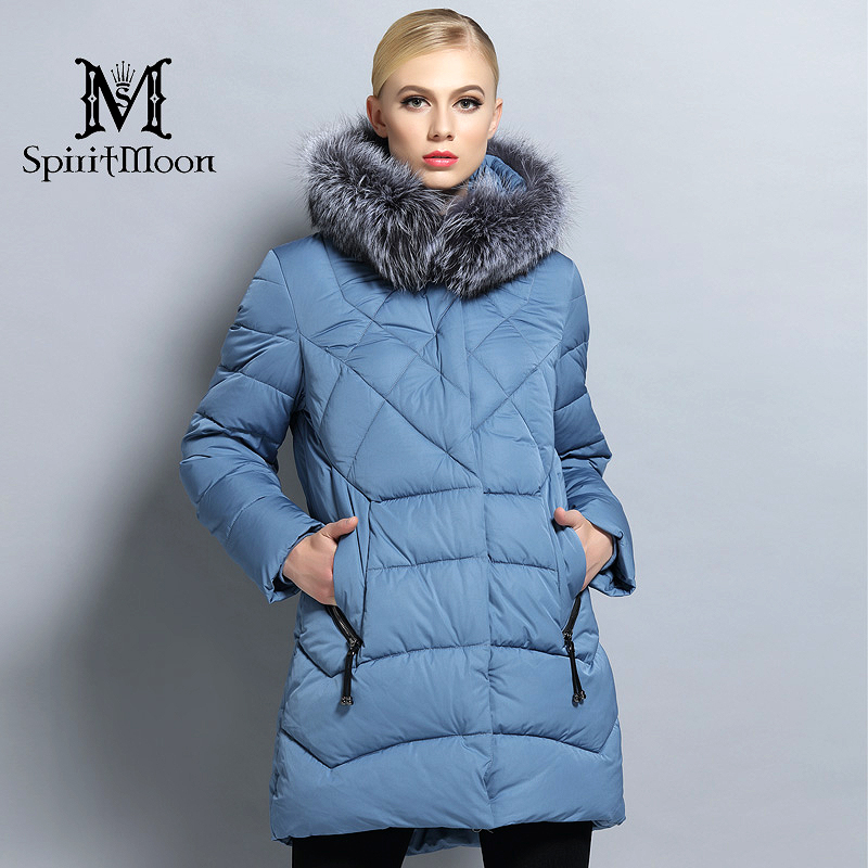 SpiritMoon 2017 New Winter Warm Female Thick   Parka   Hooded Coat Women Down Jacket With Silver Fox Collar Big Plus Size 5XL 6XL