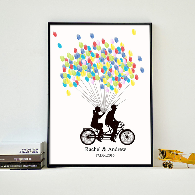 Lovers On BikeFree Custom Name Date Fingerprint Signature Guest BookCanvas Guestbook For