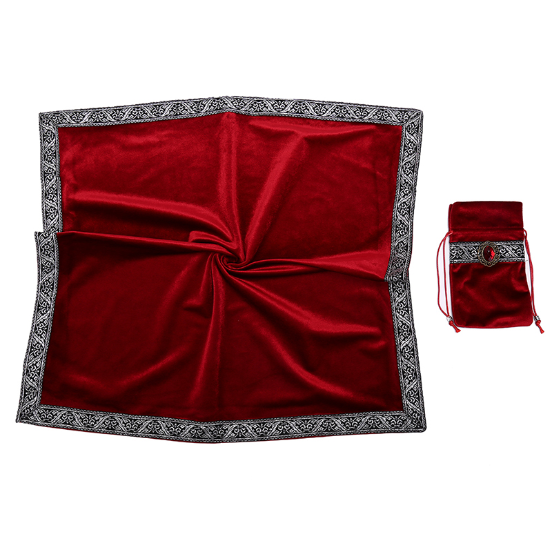 2PCS/Lot Velvet Tarot Tablecloth With Bags Flocking Fabric Beautiful Stone Tarot Board Game Accessories By Hand