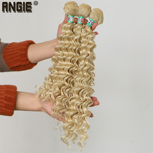 ANGIE Deep Wave Curly Synthetic Hair Weave 16 18 20 Inches Available Synthetic Hair Bundles 1 Bundle/Pack Pure Color