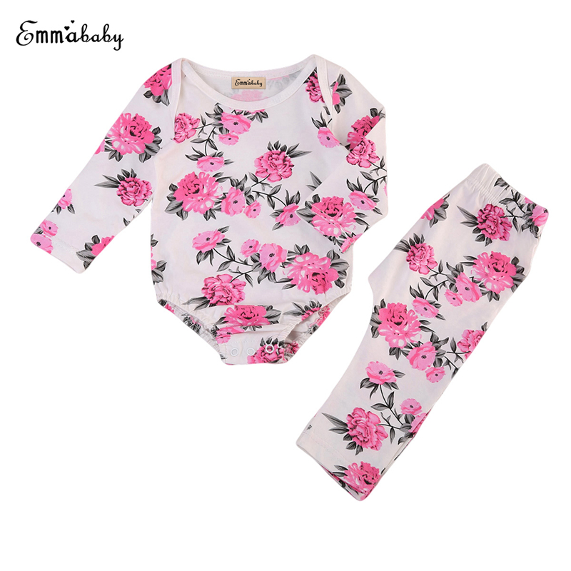 Floral Baby Girl Clothing Set Newborn Baby Rose Pink Tops Long Sleeve Bodysuit Pants 2017 Bebes Outfits Infant Girl Clothes Set newborn infant girl boy long sleeve romper floral deer pants baby coming home outfits set clothes