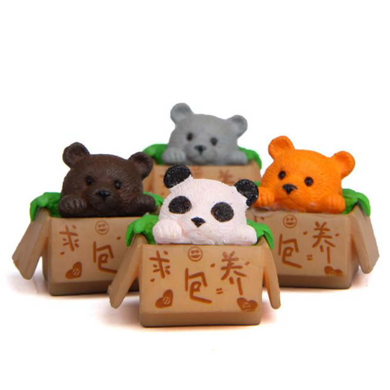Action-Figure Miniature Toy Cartoon Seeking Animal Panda 4pcs/Lot Ornament Inside-Box