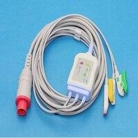 Bionet bm3 일체형 환자 ecg 케이블 3 리드  6 핀 ecg 리드 와이어 클립 엔드 iec 표준 환자 모니터 ecg 케이블 호환