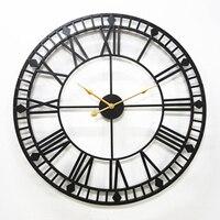 80 см негабаритные металлические настенные часы современный дизайн европейский античный стиль римский ржавый большой железные часы настен