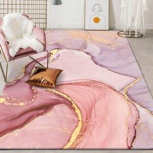 Image 2 - Alfombra de felpa para dormitorio tapete de puerta para cocina moderno y bonito abstracto con acuarela, rosa, dorado, Morado, para sala de estar y mesita de noche