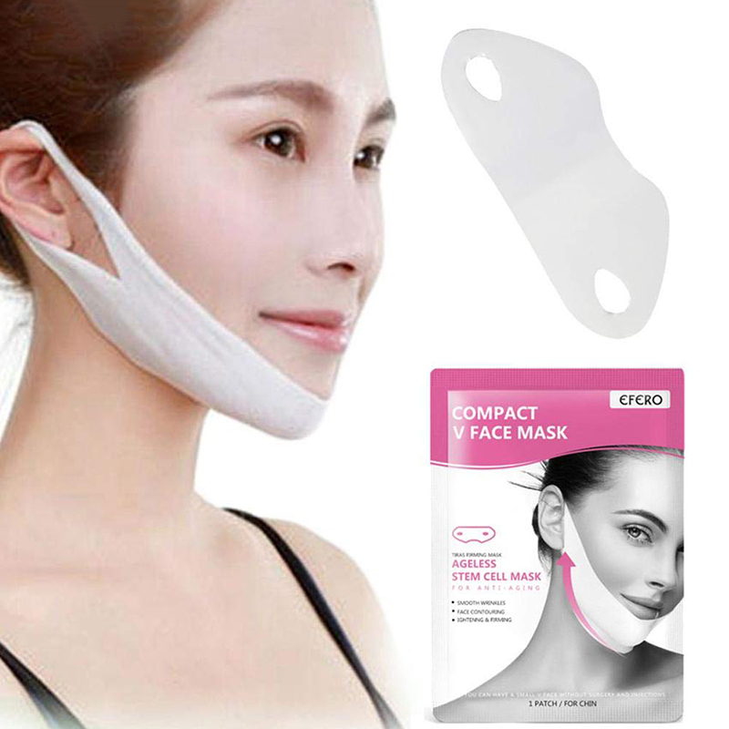 V Shape Face Lifting Tightening Mask Chin Slimming Lift Slim Facial  Care Peel-off Gel Mask Double Hanging Ears Masks TSLM2