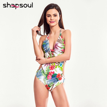 Colorful Floral Deep Cut Swimwear Women Elastic Rubber Halter Joint One Piece Swimsuit Backless High Leg Monokini  Bodysuit
