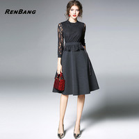 RENBANG Lace Dress Women O Neck Embroidered Elegant Beauty Office Women Spring New Sexy Lace Dress