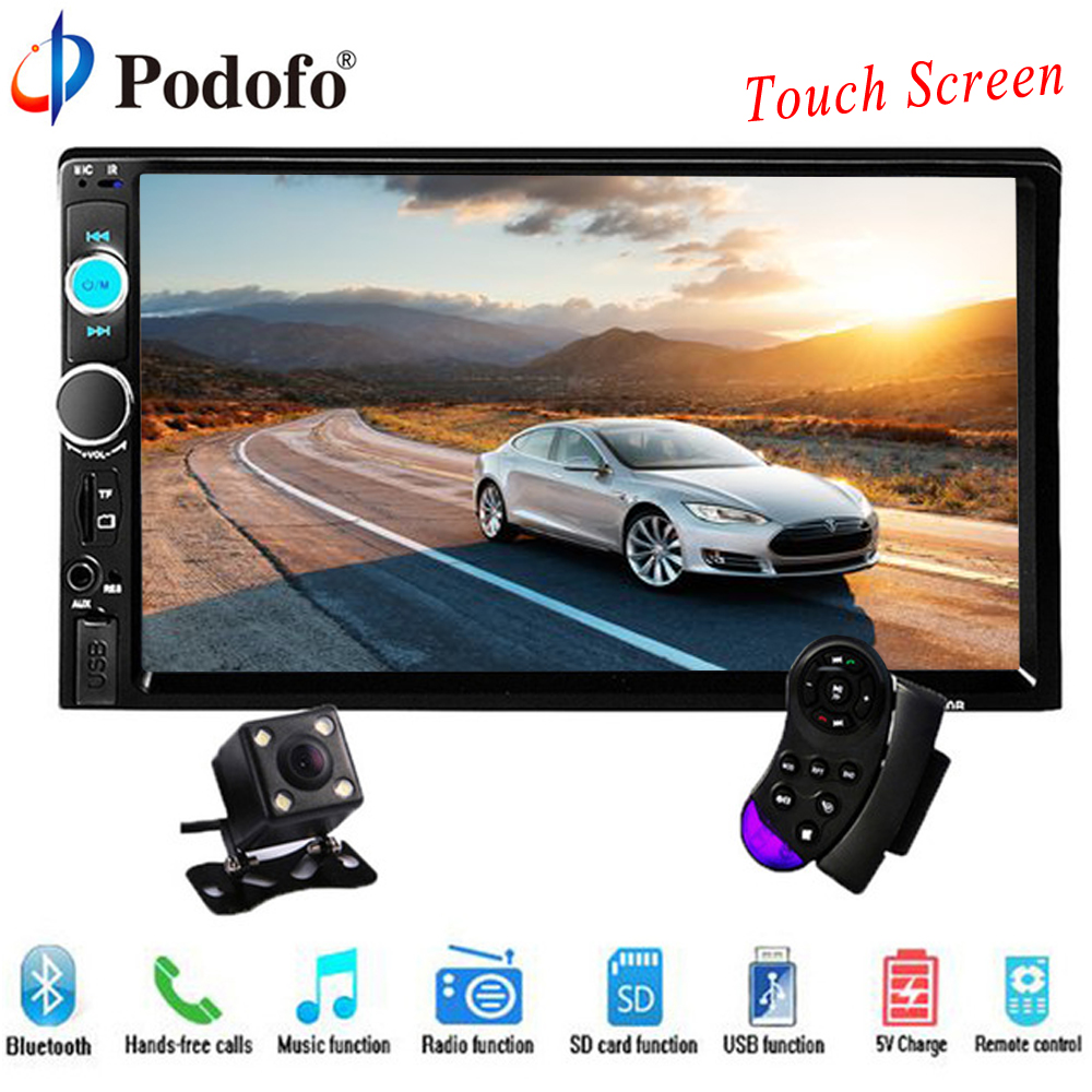 Podofo 2 din car radio 7″ HD Touch Screen Player MP5 SD/FM/MP4/USB/AUX/Bluetooth Car Audio For Rear View Camera Remote Control