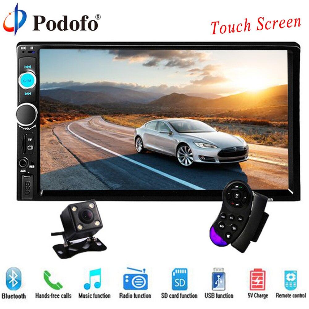 Podofo rádio do carro 2 din 7 Tela de Toque HD Jogador MP5 SD/FM/MP4/USB/AUX/Bluetooth de Áudio Do Carro Para a Parte Traseira visão Da Câmera de Controle Remoto