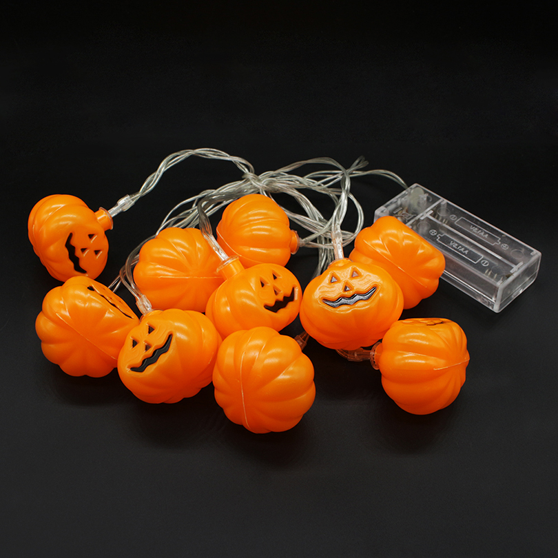 Halloween Waterproof 3D Pumpkin LED String Lights 10LEDs 2M Decorations Lighting For Indoor/Outdoor Holiday Festival Party Decor