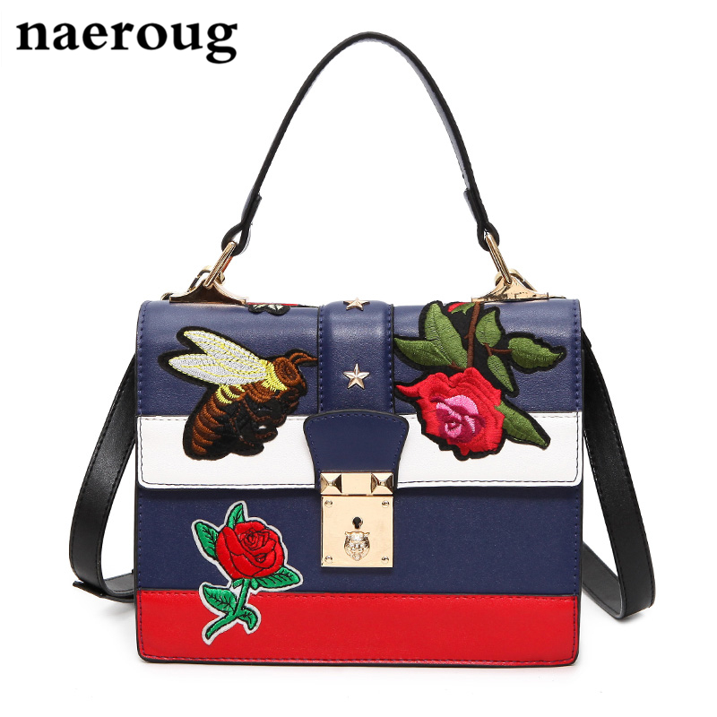 ФОТО 2016 Brand Print Women Bags Lady Personality Handbag Colorfull Flap Bags All-match Striped Shoulder Messenger Bag Red Blue White