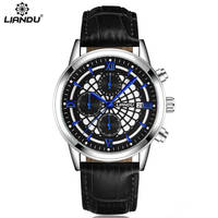 LIANDU Leather Strap Casual Watches Men S Quartz Chronograph Function Clock Man Sports Wrist Watch Relogio
