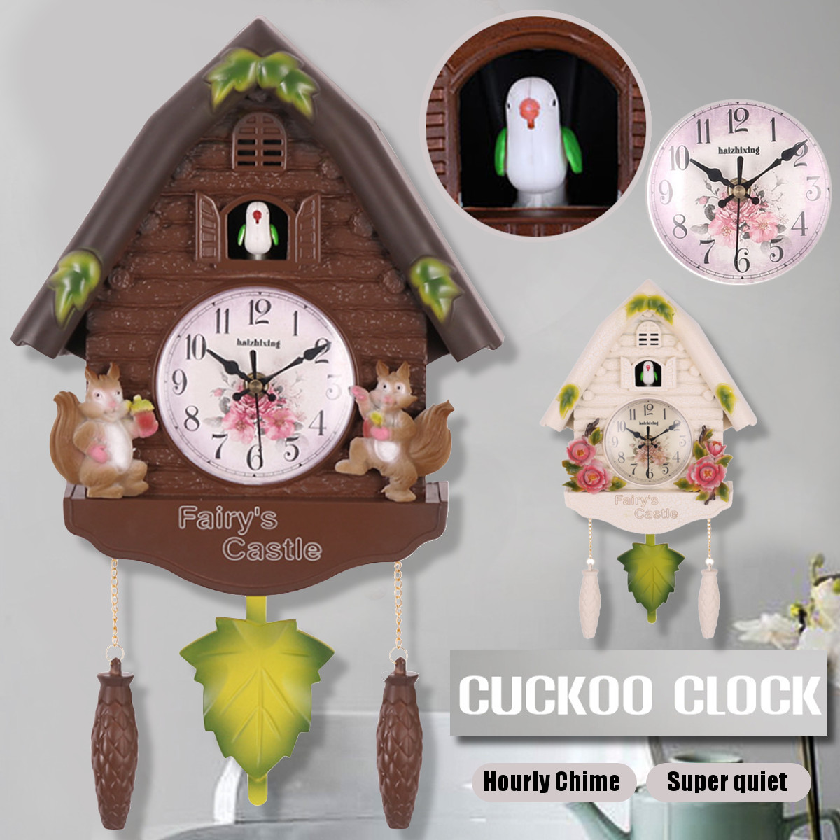 Watch Wall-Clock Swing-Alarm Art-Decor Handcraft Cuckoo Wooden Antique Home-Room Bird-Time
