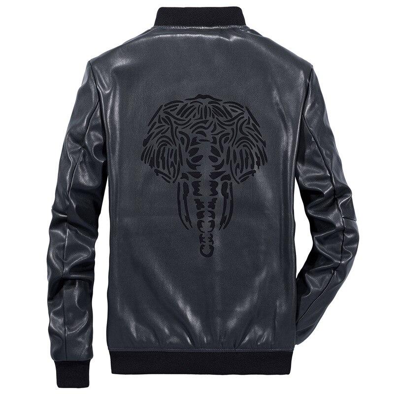 ZOZOWANG 2019 printemps été veste hommes en cuir veste rétro moto veste o-col haute qualité manteau PU cuir grande taille - 5