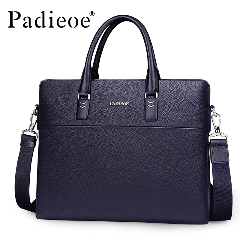 Padieoe Luxury Brand Business Men Briefcase Genuine Leather Bag Handbags Men Shoulder Bags padieoe men s genuine leather briefcase famous brand business cowhide leather men messenger bag casual handbags shoulder bags
