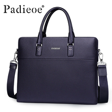Padieoe Luxury Brand Business Men Briefcase Genuine Leather Bag Handbags Men Shoulder Bags