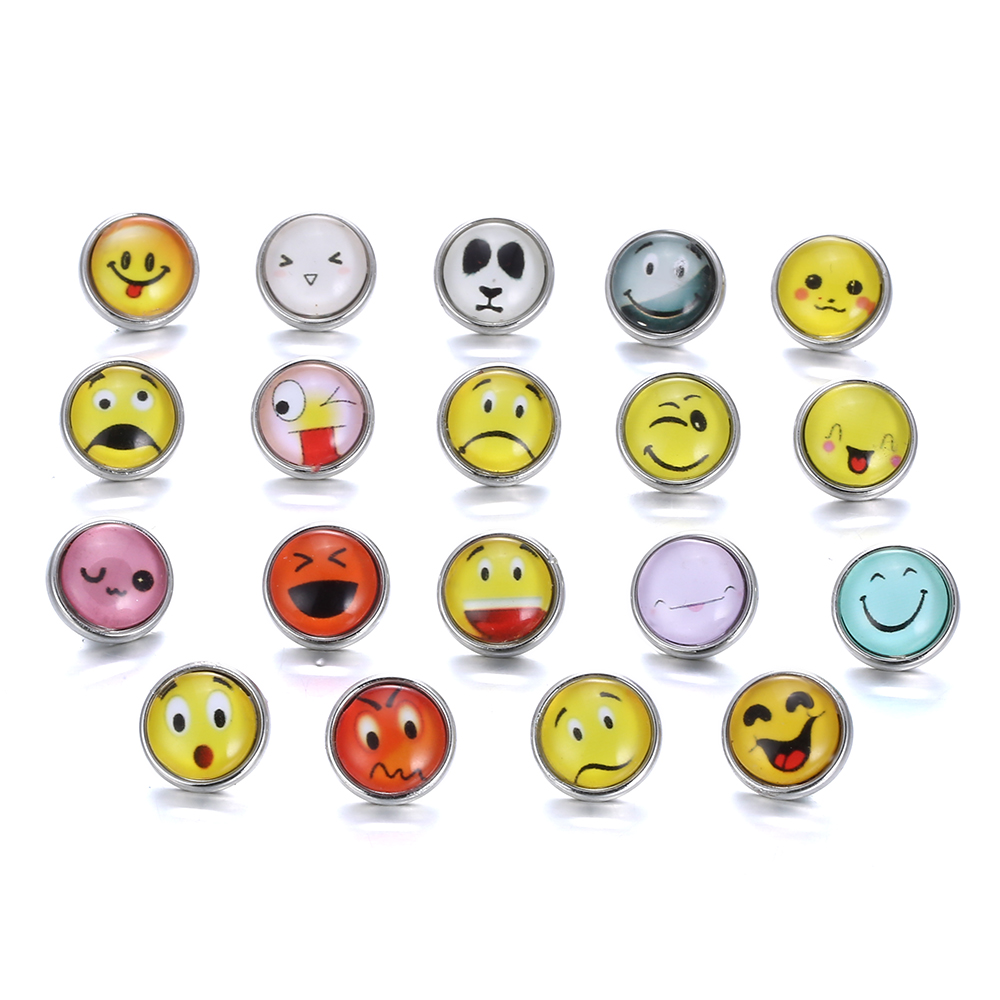 Cute Mini 12mm Emoji Snap Jewelry Face Expression Glass Resin Snap Buttons DIY Snap Bracelets Button Jewelry Gift