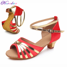 Children Red Tango Latin Dance Shoes Woman Dancing Shoe Wholesale For Girls Kids Low Heel Salsa Sandals