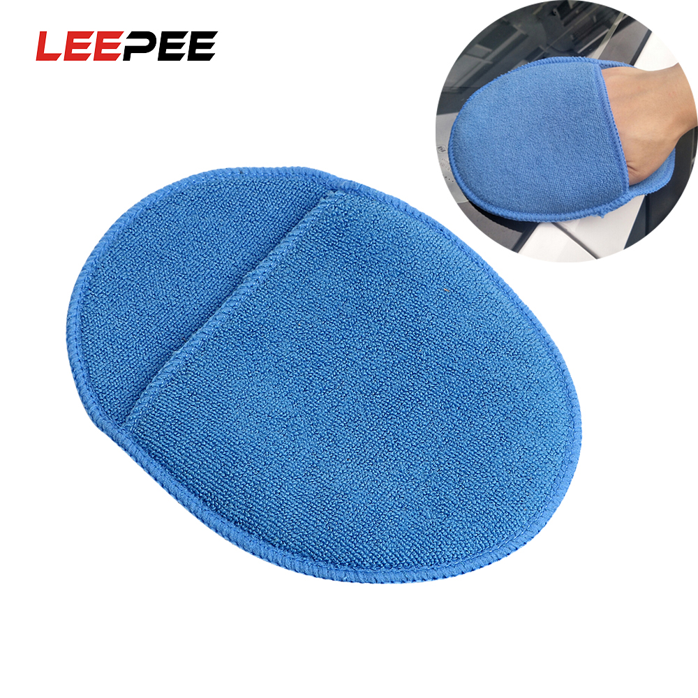 LEEPEE Car Wax Sponge Paint Care Soft Microfiber Polish Pad With Pocket For Car Cleaning Foam Glass Washing Sponge Auto Care