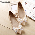 Cute bow pointed women shoes ballerina flats slip on free shipping 34-43