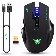 COMBATERWING Rechargeable 2 4G Wireless Wired Gaming Mouse Optical Mice Adjustable DPI 8 Button for PC