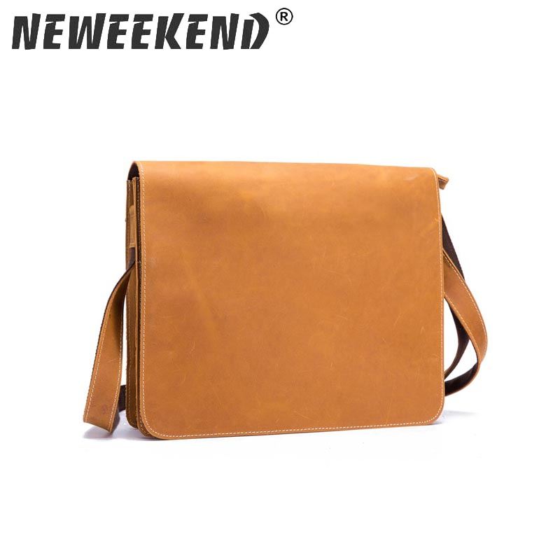 Neweekend The new 2018 leather men s bags inclined bag High capacity pure color clamshell single