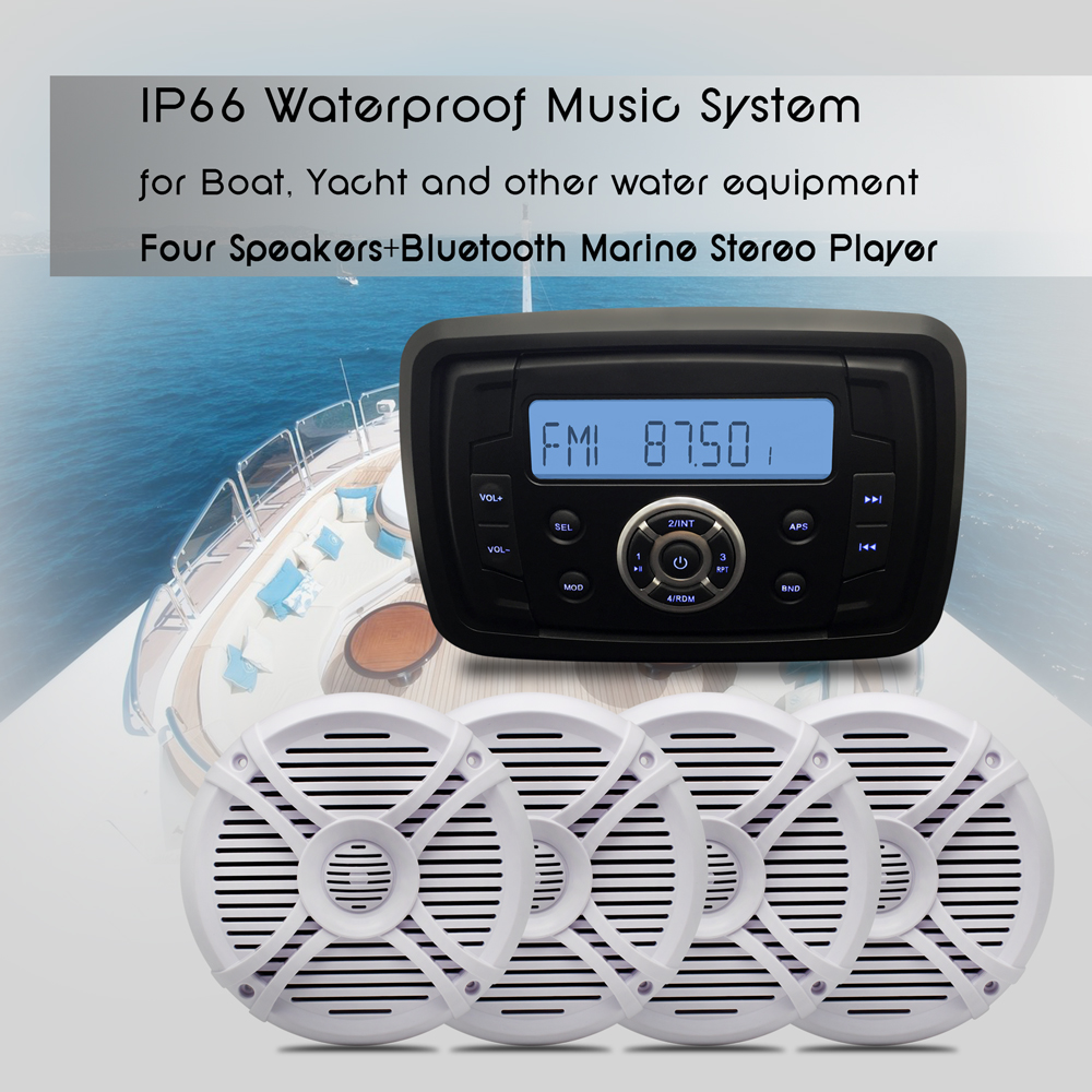 Boat Audio Waterproof Stereo Bluetooth Marine Motorcycle MP3 USB ...
